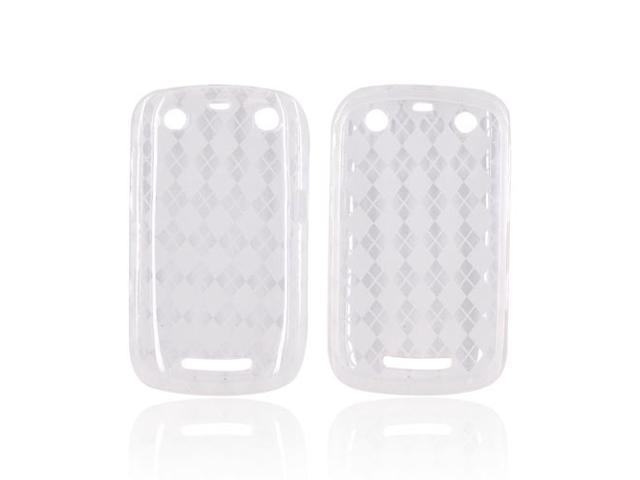 Clear Argyle Checkered Crystal Silicone Case For Blackberry Curve 9350 9360 9370
