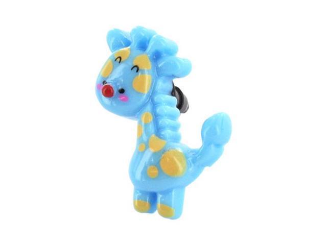 Universal 3.5mm Headphone Jack Stopple Charm - Blue/ Yellow Giraffe