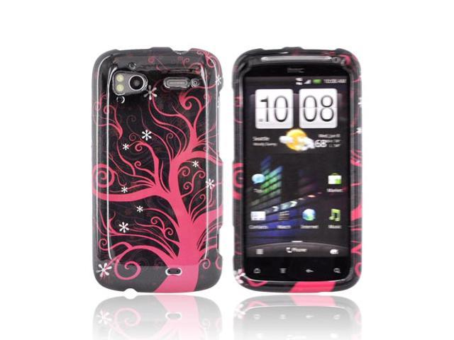 Slim & Protective Hard Case for HTC Sensation 4G - Hot Pink Tre eon Black - OEM