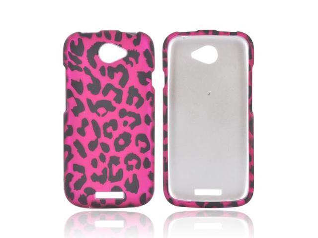 HTC One S Rubberized Hard Case - Hot Pink/ Black Leopard