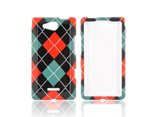 Slim & Protective Hard Case for LG Lucid 4G - Red / Black Argyle