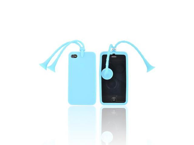 AT&t/ Vzw Apple Iphone 4, Iphone 4s Rubbery Feel Silicone Skin Case Cover W/ Stand - Sky Blue Bug