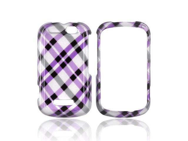 Slim & Protective Hard Case for Motorola Clutch+ i475 - Purple Plaid on Silver