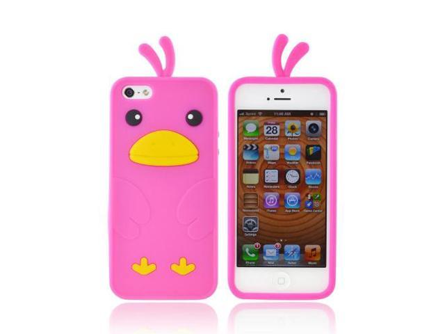 Apple Iphone 5 Rubbery Feel Silicone Skin Case Cover - Hot Pink Duck