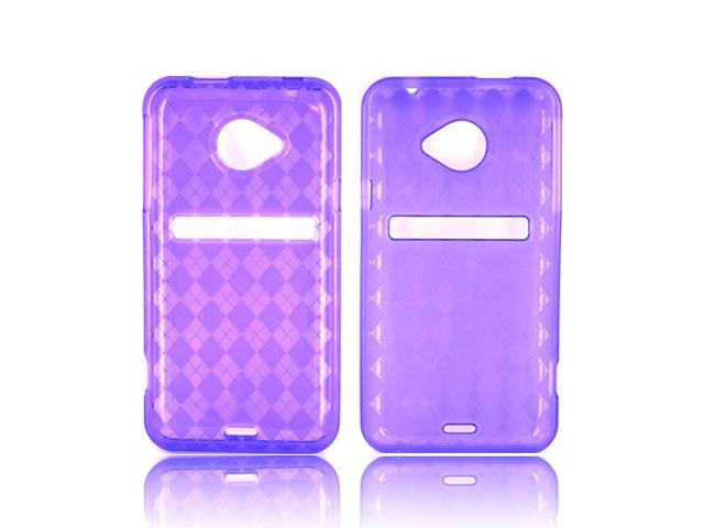 HTC EVO 4g LTE Crystal Rubbery Soft Silicone Skin Case - Argyle Purple