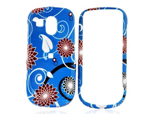 Samsung Caliber R860/r850 Hard Plastic Case - Red Flowers On Blue