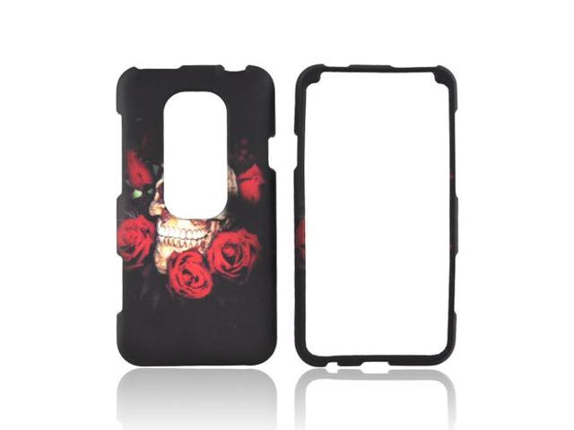 HTC EVO 3d Rubberized Plastic Case - Skull & Roses On Black