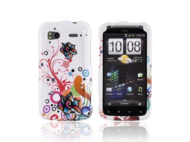 Slim & Protective Hard Case for HTC Sensation 4G - Rainbow Floral on White