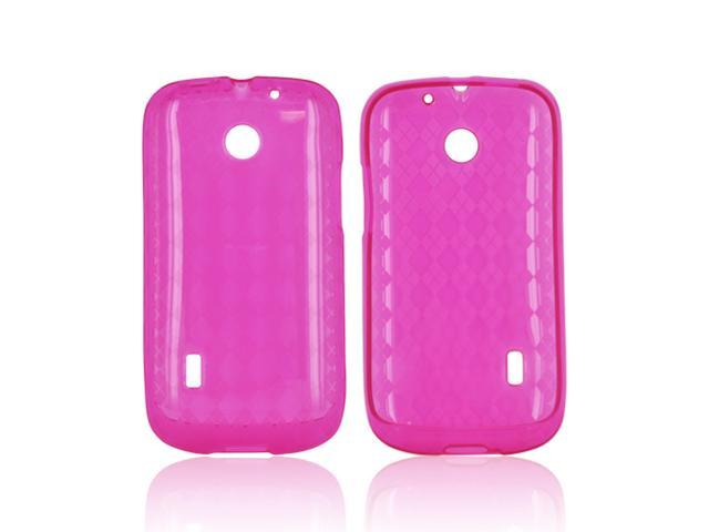 AT&t Fusion U8652 Crystal Rubbery Feel Silicone Skin Case Cover - Argyle Hot Pink