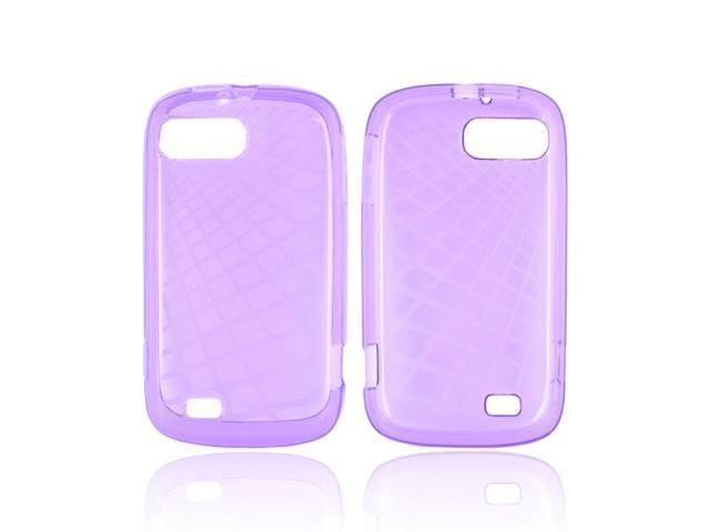 Grid Purple TPU Crystal Silicone Case Cover For ZTE Fury N850