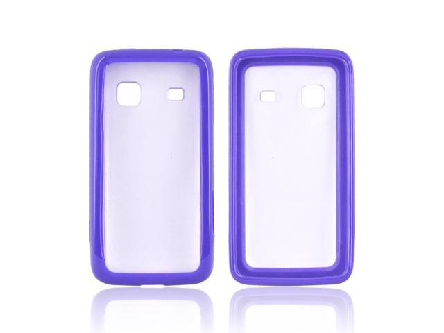 Transparent Clear Hard Back Purple Silicone Case For Samsung Galaxy Prevail M820
