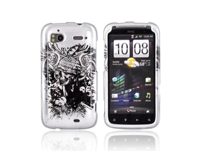 Slim & Protective Hard Case for HTC Sensation 4G - Silver Skulls on Black
