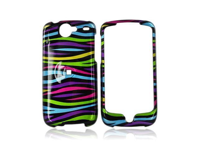 Google Nexus One Hard Plastic Case - Rainbow Zebra On Black