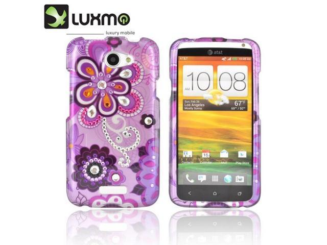 HTC One X Hard Plastic Case Snap On Cover W/ Bling - Purple/ Pink Retro Flower