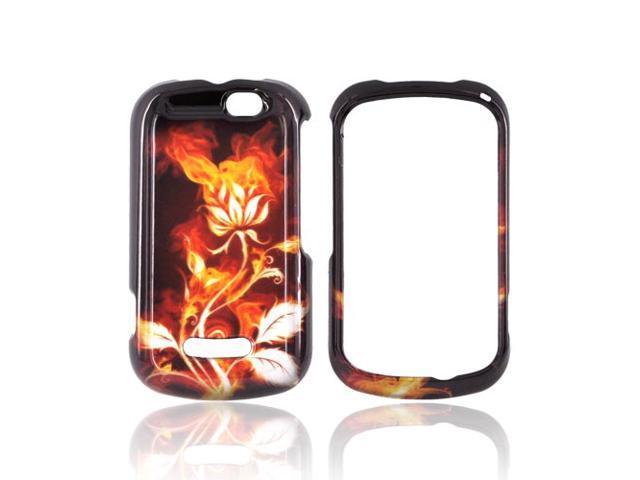 Slim & Protective Hard Case for Motorola Clutch+ i475 - Flaming Rose on Black