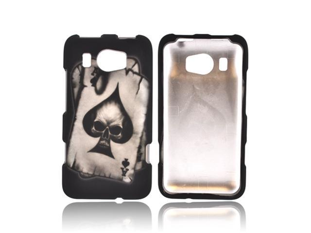 HTC Titan 2 Rubberized Hard Plastic Case Snap On Cover - Ace Skull On Black