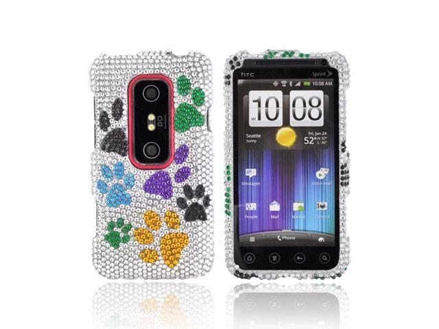 Blue Green Yellow Black Dog Paws Silver Bling Hard Plastic Case For HTC EVO 3D