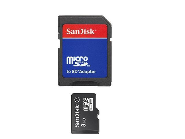 Sandisk 8gb Micro SDHC Memory Card W/ SD Card Adapter