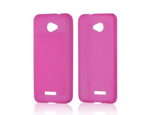 Hot Pink Rubbery Feel Silicone Skin Case Cover For HTC Droid DNA