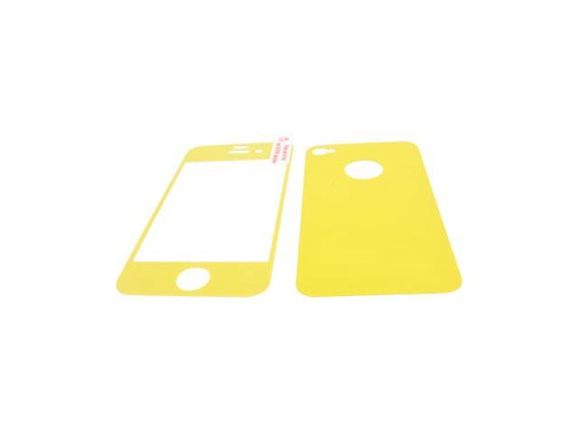 Apple iPhone 4/4S Screen Protector & Protective Skin (Front & Back) - Yellow