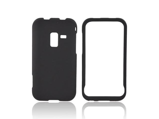 Black Rubberized Hard Plastic Snap On Case Cover For Samsung Conquer