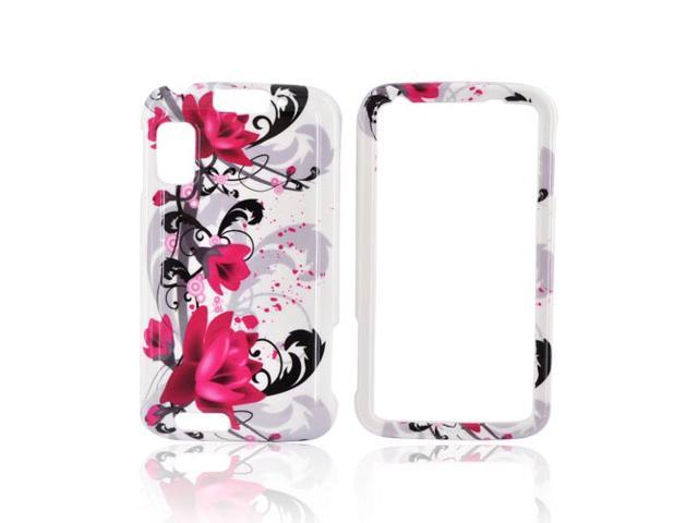 Slim & Protective Hard Case for Motorola Atrix 4G - Pink Flowers on White