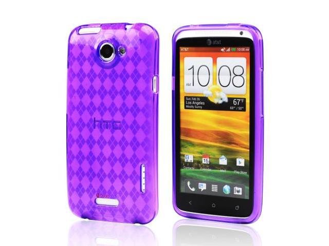 Argyle Purple TPU Crystal Silicone Case Cover For HTC One X
