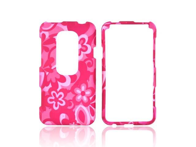 Pink Flowers Rubberized Hard Plastic Snap On Case Cover For HTC EVO 3D