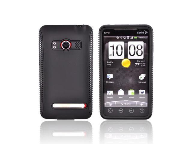Black Dual Flex Hard Case Gel Cover TPU Silicone For HTC EVO 4G