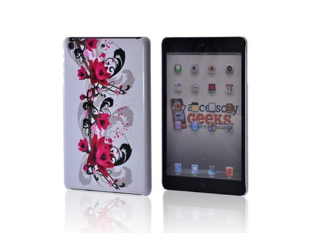 Slim & Protective Hard Case for Apple iPad Mini - Magenta Flowers & Black Vines on White