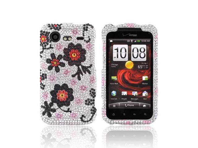 Red Black Daisies Silver Bling Hard Plastic Snap Case For HTC Droid Incredible 2