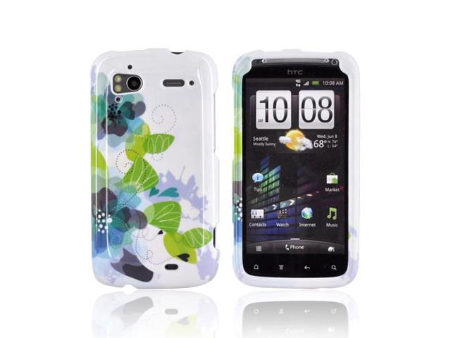 Slim & Protective Hard Case for HTC Sensation 4G - Blue Green Lillies on White - OEM