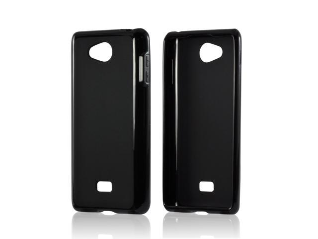 MultiPro Black Crystal Silicone Rubber Skin Case w/ Polished Borders for LG Spirit 4G