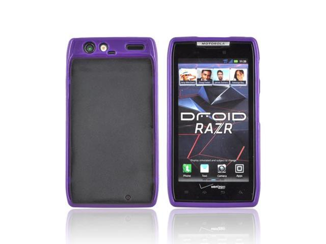 Purple Black Hard Back Case Cover W Gummy Border For Motorola Droid RAZR
