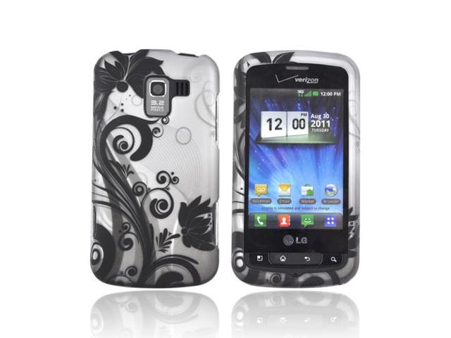 LG Enlighten Vs700 Rubberized Hard Plastic Case Snap On Cover - Black Vines & Flowers On Silver
