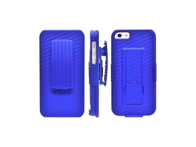 Apple Iphone 5 Rubberized Hard Plastic Case Snap On Cover And Holster Combo W/ Stand & Clip - Blue
