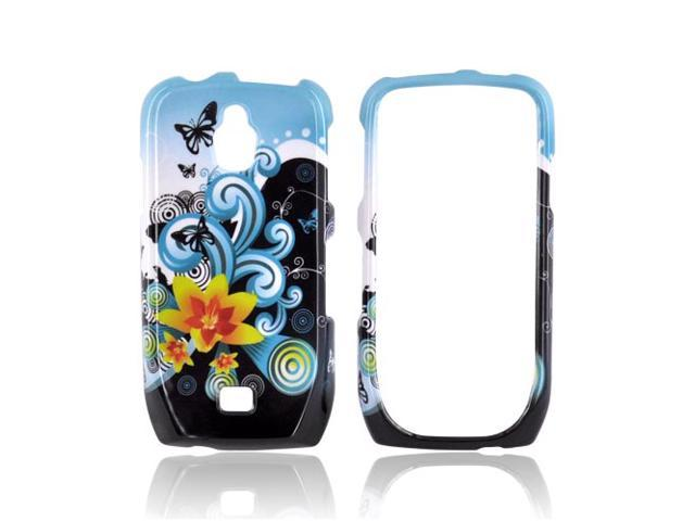 Slim & Protective Hard Case for Samsung Exhibit T759 - Yellow Lily w/ Swirls on Turquoise