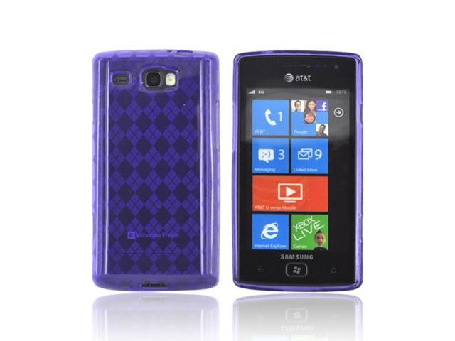 Samsung Focus Flash I677 Crystal Rubbery Feel Silicone Skin Case Cover - Argyle Purple