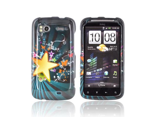 Slim & Protective Hard Case for HTC Sensation 4G - Star Blast & Butterflies on Teal - OEM