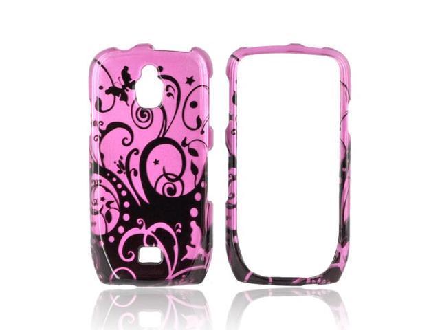 Slim & Protective Hard Case for Samsung Exhibit T759 - Black Swirl Design on Purple