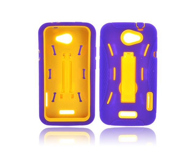 HTC One S Silicone Over Hard Plastic Case Snap On Cover W/ Stand - Purple/ Yellow