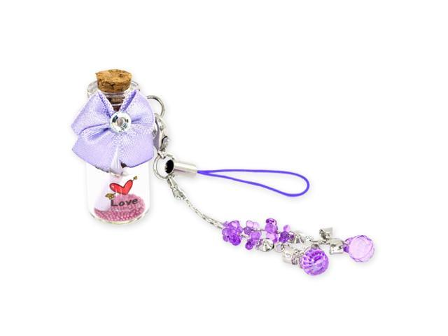 Bottle And Love Message W/ Ribbon Cellphone Charm/strap - Purple