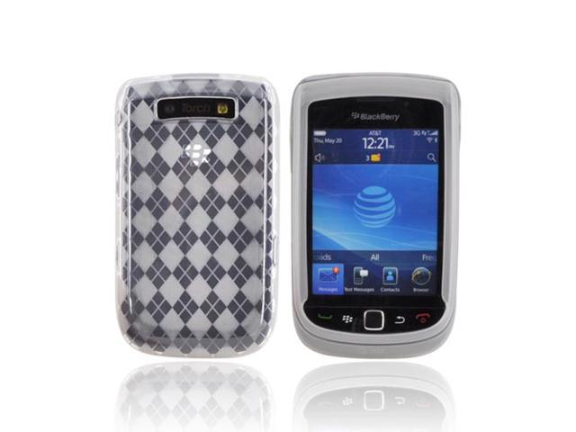 Blackberry Torch 9800 Crystal Rubbery Feel Silicone Skin Case Cover - Argyle Clear