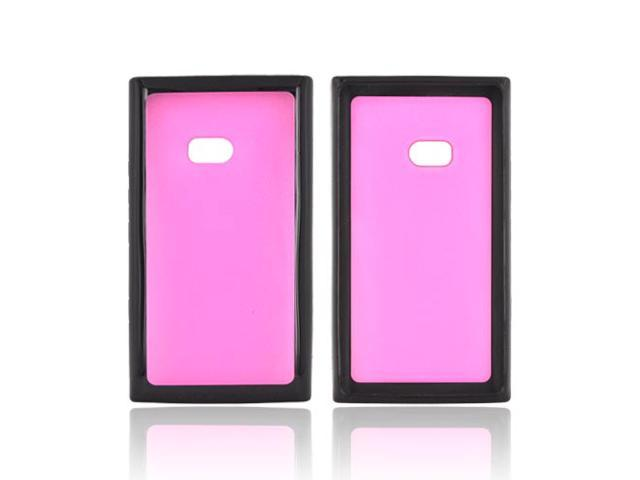 Hot Pink Black Hard TPU Case W Gummy Border For Nokia Lumia 900