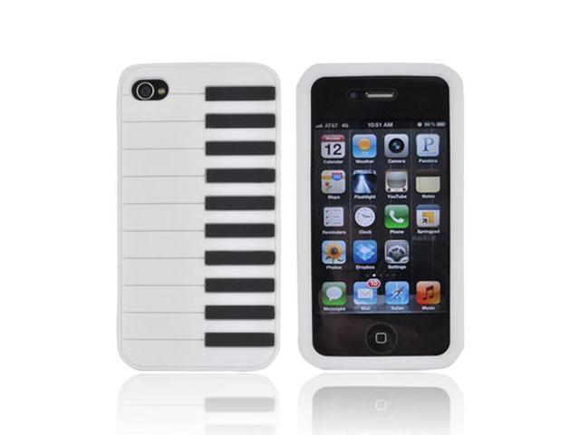 iPhone 4 Case, [White] Slim & Flexible Anti-shock Matte Reinforced Silicone Rubber Protective Skin Case Cover for Apple