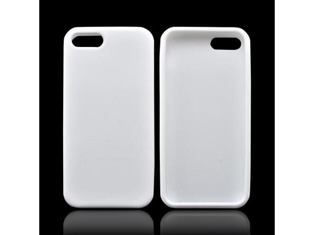 iPhone 5 Case, [White] Slim & Flexible Anti-shock Matte Reinforced Silicone Rubber Protective Skin Case Cover for Apple