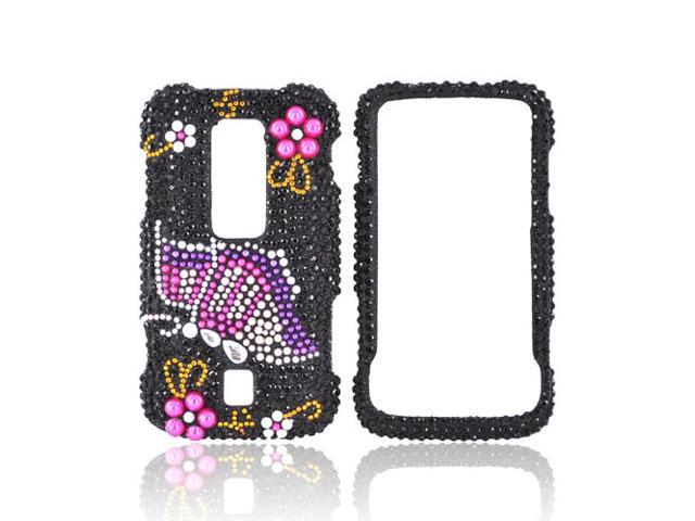Pink Butterfly Black Bling Hard Plastic Snap Case Cover For Huawei Ascend M860