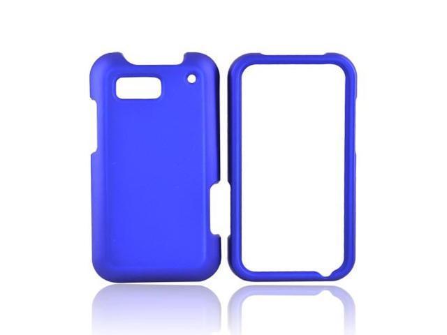 Blue Rubberized Hard Plastic Snap On Case Cover For Motorola Defy