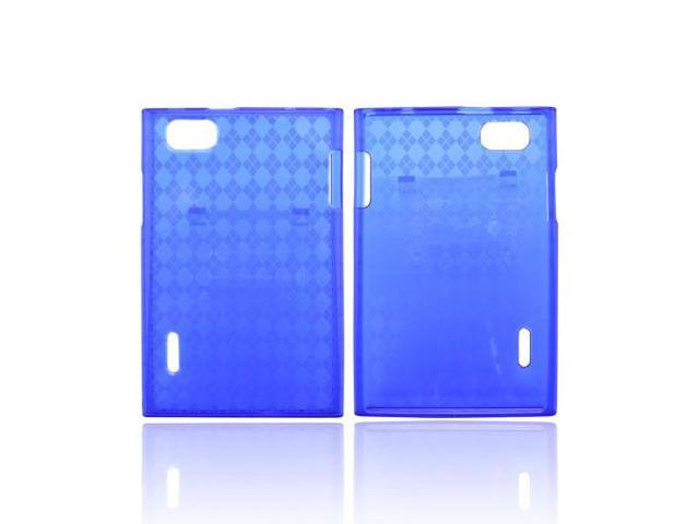 LG Intuition Vs950 Crystal Rubbery Feel Silicone Skin Case Cover - Argyle Blue