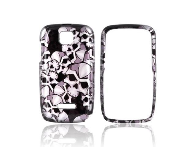 Slim & Protective Hard Case for Motorola Theory - Silver Skulls on Black